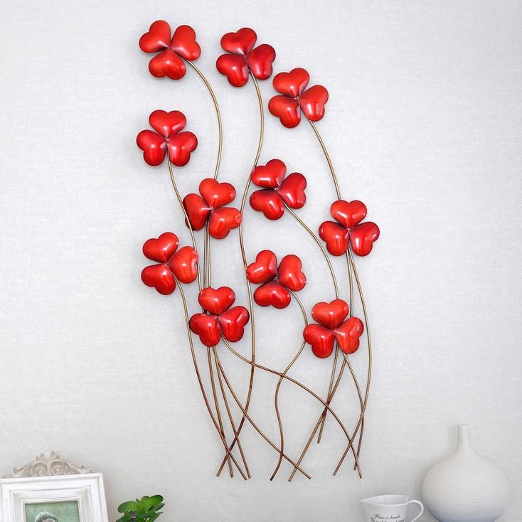Wall Art Red Flower : Modern home decoration metal wall art hand made creative