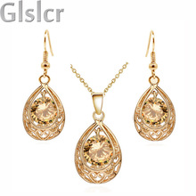 Vintage queen Bride gold plated Zircon Rhinestones water drop Pendant Necklace Earrings indian jewelry sets for women 80025(China (Mainland))
