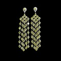18k Gold Plated Jewelry Luxury Yellow Cubic Zirconia Diamond Tassel Long Drop Earrings For Women
