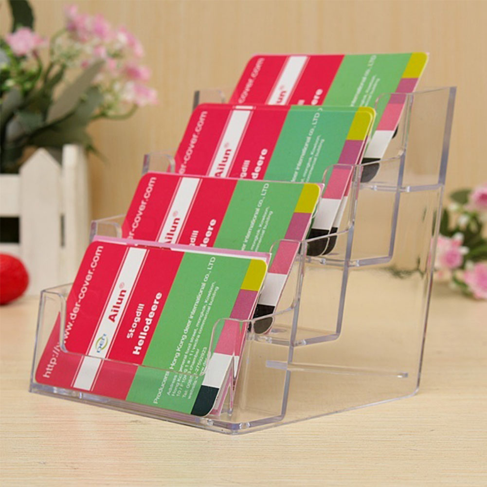 New 4 Layers Pocket Display Stand Acrylic Plastic New Clear Desktop Business Card Holder Desk Shelf Box Storage(China (Mainland))