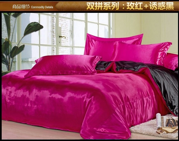 Black and hot pink silk satin bedding comforter set king for Hot pink bedroom set