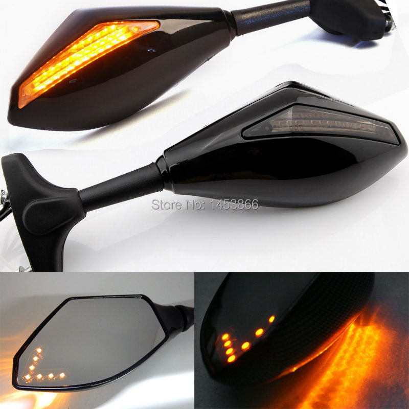 Black Motorcycle LED Turn Signal Integrated Indicator Rearview Side Mirror For font b Yamaha b font