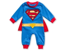 Superman Long Sleeve Baby Dress Romper Halloween New Jumpersuit Costume Freeshipping