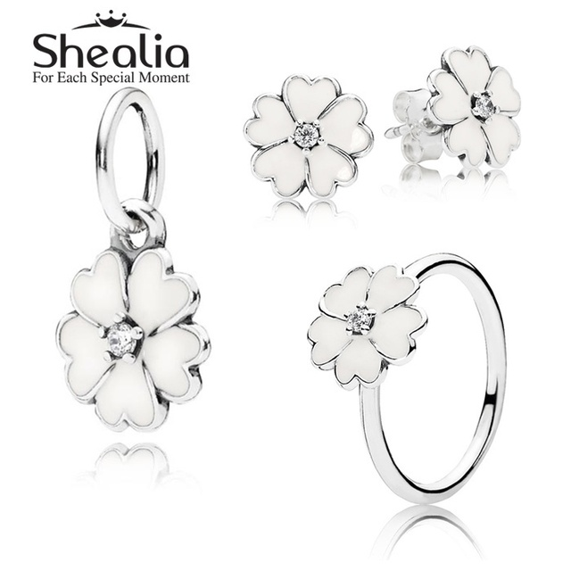 925 чистое серебро цветы ювелирные комплект - эмаль энотеры серьги-гвоздики / кулон / кольцо для женщины своими руками аксессуары SHEALIA