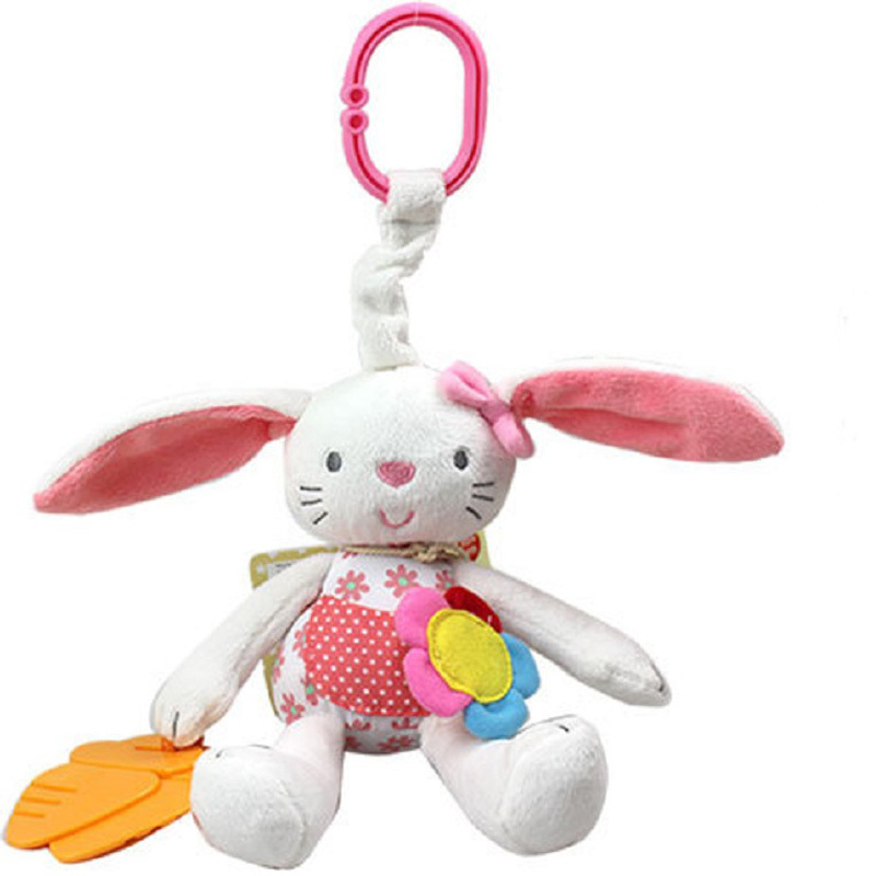 2015 New Baby Bunny Rattle Toy  Baby Toy Soft Plush Rabbit Ring Bell Crib Bed Hanging Animal Toy Teether Multifunction Doll(China (Mainland))
