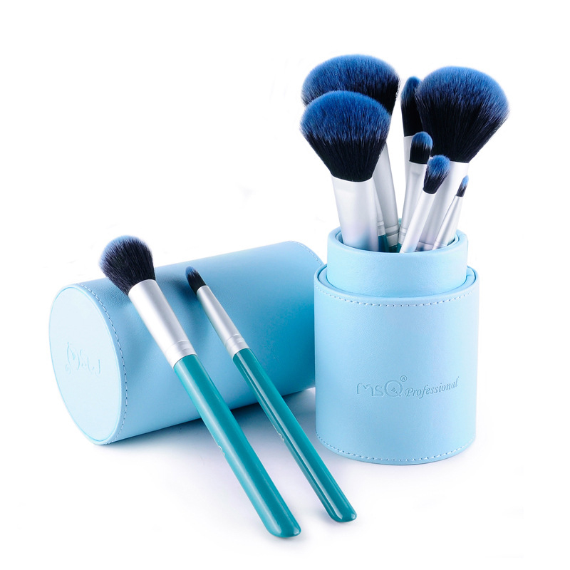 New Design 12pcs Animal Hair cosmetic brush set makeup brush set New Product Natural PU Leather Bag With Wood Handle(China (Mainland))
