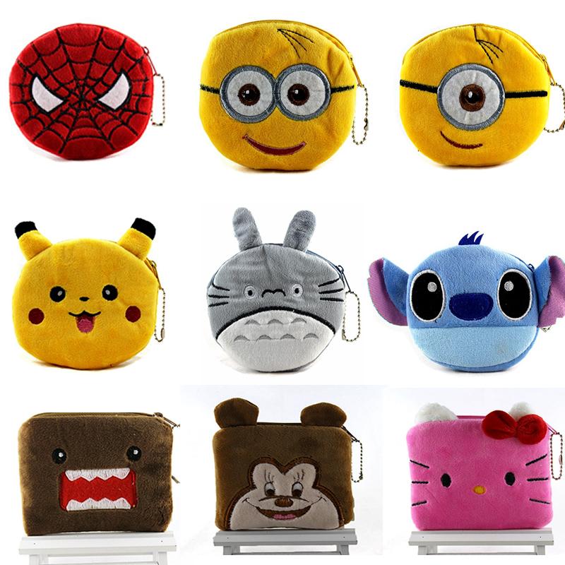 2015 Cute Cartoon Plush Coin Purse Children Zip Change Purse Wallet Spider Man Hello Kitty Minions