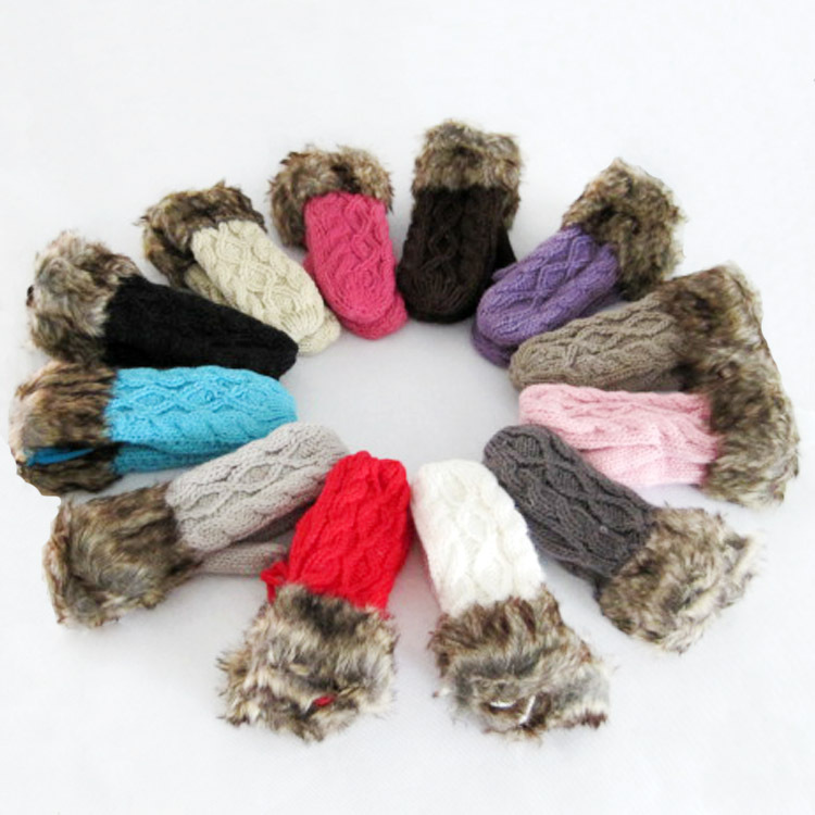 Hot 2015 Fashion Wild Thick Warm Woman Winter Windproof Gloves Wool Knitted Plus Velvet Lanyard Full-finger luvas Free Shipping(China (Mainland))