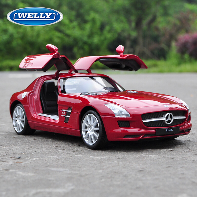 Original Box Large Scale Simulation Alloy Car Children's toy car Maisto alloy models 1:24 Benz SLS AMG roadster genuine(China (Mainland))