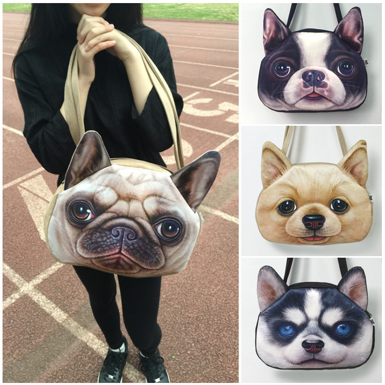 Big Size Imitation leather 3D printing dog Face Women Shoulder Bags Fashion handbag zipper tote bag Animal Lady Messenger Bags(China (Mainland))