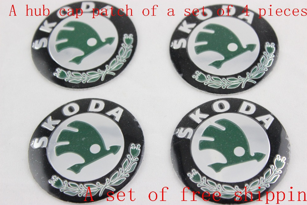 Wholesale New A Set Of 4pcs 56mm CAR Auto Tyre Wheel Center Hub Cap Hubcap Stickers Emblems Badge Decal Fit SKODA(China (Mainland))