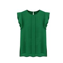 Summer 4 Colors Tops Blouse Fashion Women OL Chiffon Blouse Shirt S-XL Wholesale Ruffle Short Sleeve