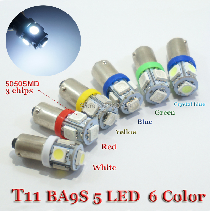 10PCS T11 BA9S T4W 363 Cold White Red Green Yellow crystal blue LED 5050 SMD Car Styling Wedge Side Light Lamp Bulb 12V(China (Mainland))