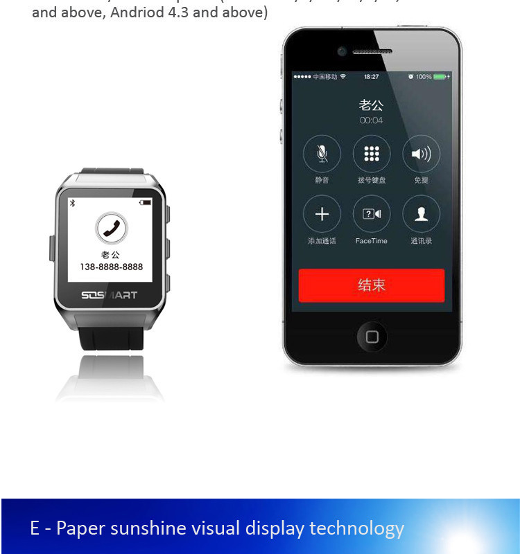 2015 Smart Electronics ink Screen Reloj Inteligente Watch Long Standby Stainless Steel Shell Magnetic Charge for Android iPhone