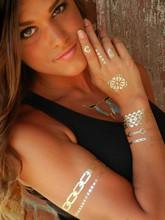 New Sexy Temporary Tattoo Necklace Choker Bracelet Fashion Henna Tatouage Metallic Gold Tattoos For Body Art SD88  Fashion(China (Mainland))
