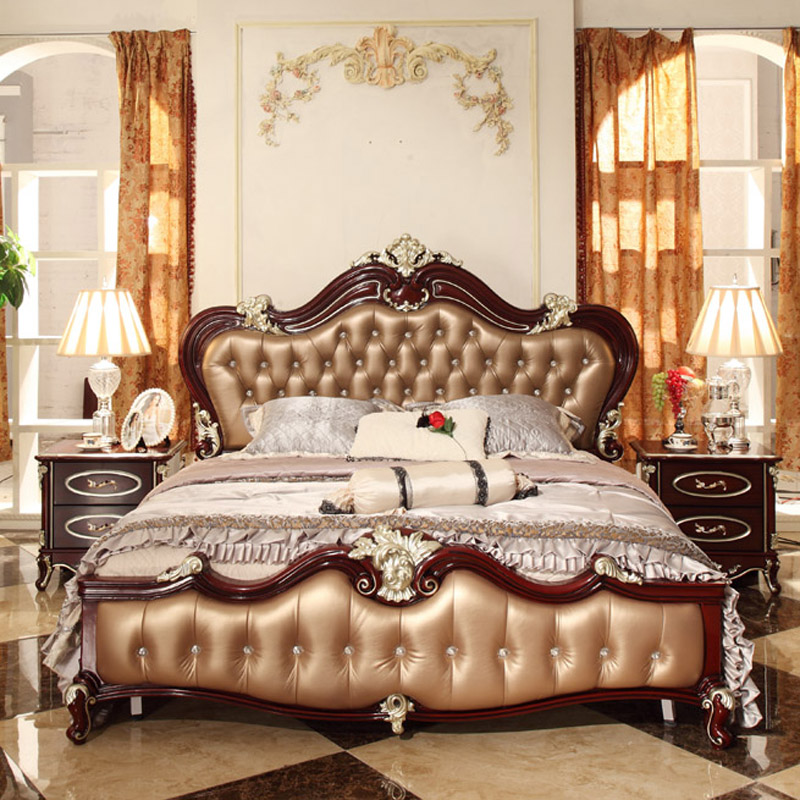 European style double bed 1 8 m bed retro classic french for Retro style bedroom furniture