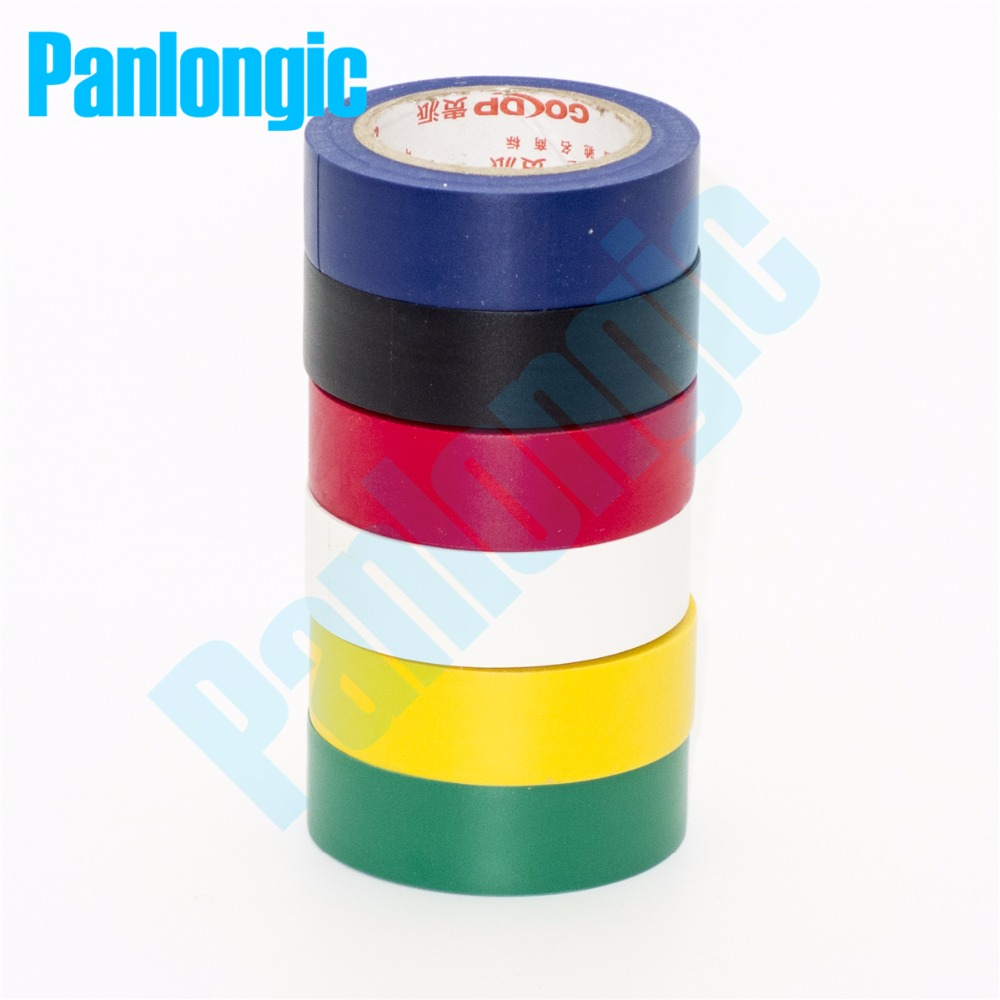 6PCS 6 Colors 10Meters/pcs Electrical Tape Insulation Adhesive Tape High Temperature Insulation Tape Waterproof PVC Tape(China (Mainland))