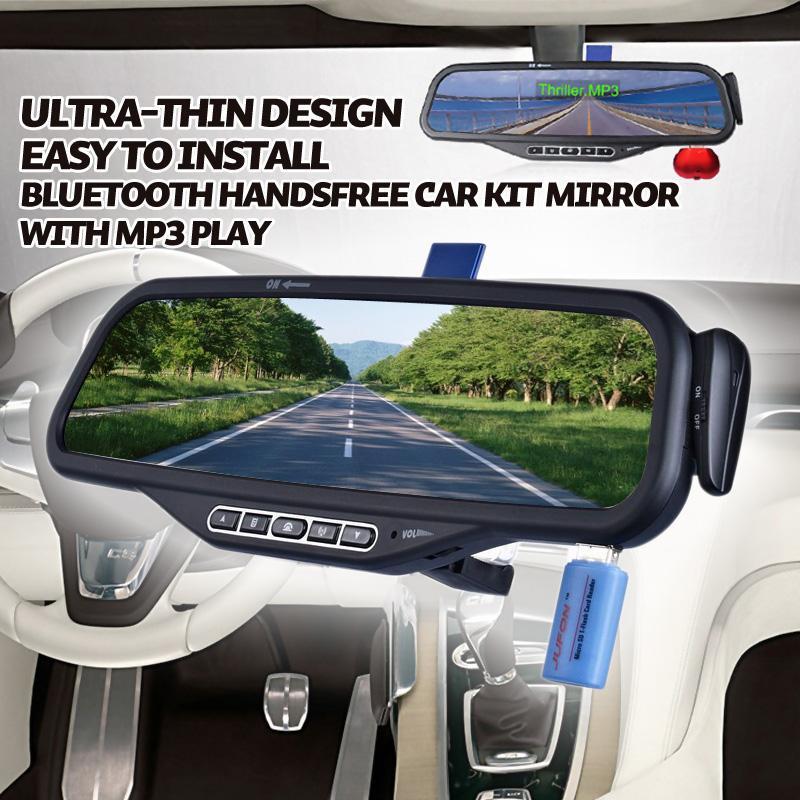 Ultra-thin design Car Handsfree Bluetooth Car Kit bluetooth speaker for car bluetooth car mp3 bluetooth Mirror with caller ID(China (Mainland))