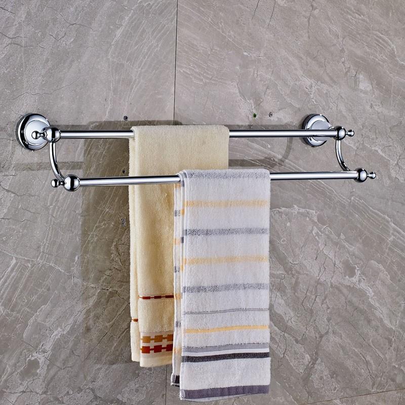 Купить Настенные Двойное Адвокатское Сословие Полотенца Латунь Chrome с Керамической Ванной Полотенце Держатель