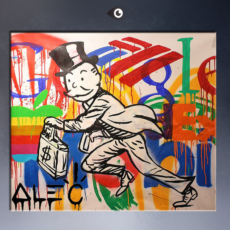 Alec dj picture monopoly canvas print pop art giclee for Pop wall art