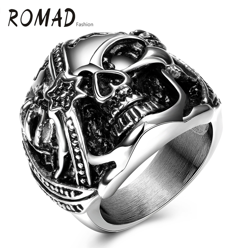 2017 Romad Men Rings Pirates of the Caribbean White Crystal Inlay Skull Head Ring White Gold Color Jewelry Father's Day Gift(China (Mainland))