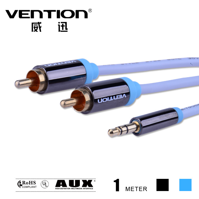 ice blue audios cables rca 3.5mm male to male aux video cable one point double lotus 3.5mm jack speaker wire for car/PC/TV(China (Mainland))