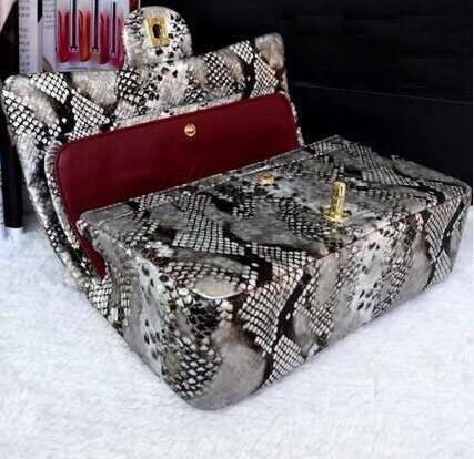 High Quality metal chain bag cc logo snake skin pattern brand boy womens handbag double flaps bag shoulder bags purses<br><br>Aliexpress