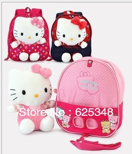 Retail- Hello Kitty baby cotton toys removable anti-lost double-shoulder kindergarten baby schoolbag kids backpack<br><br>Aliexpress