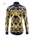 European American Royal Style Cotton Shirts for Men 2016 Autumn Fashion Mens Long sleeved Digital Printed