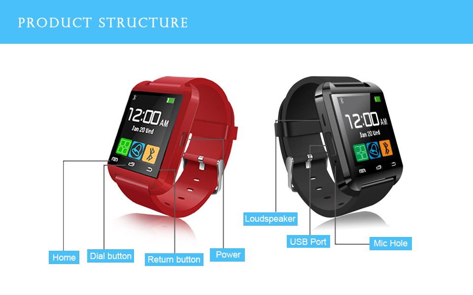 10pcs/lot Bluetooth <font><b>smart</b></font> <font><b>watch</b></font> U8 Wrist smartWatch for Samsung S4/Note2/3 for HTC for <font><b>LG</b></font> for Xiaomi Android Phone Smartphones