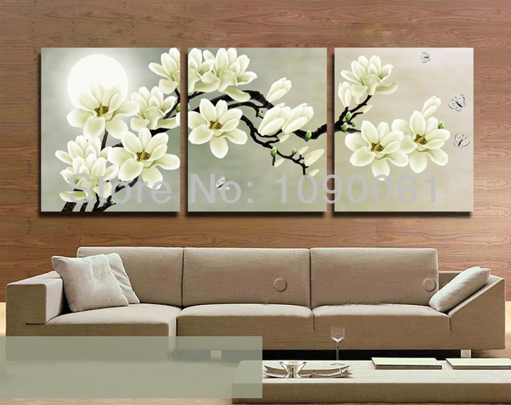 Hand Painted Flower Painting Canvas 3 Piece Wall Decor Cheap Abstract Art Modern Picture Set For
