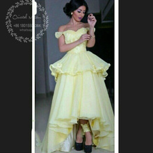 Arabic High Low Yellow Lace Applique Prom Dresses 2017 Off Shoulder Beaded Tiered Puffy Short Front Long Back Lady Evening Dress(China (Mainland))