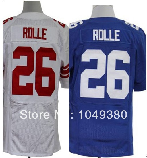 Free Shipping Wholesale&Retail Elite Game Limited American Football Jerseys #26 Antrel Rolle Jersey Blue White Embroidery Logos(China (Mainland))