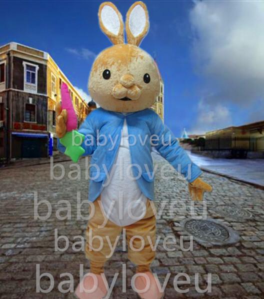 pink boots easter bunny mascot costumes blue cat rabbit walking act(China (Mainland))