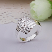 New Arrival ! R259 High Quality Fashion Jewelry 925 Silver Exquisite Clear Cystal Ring For Women+Free Shipping(China (Mainland))