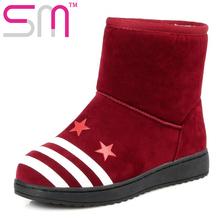 Tamaño 34-40 Forro de Piel Gruesa Rusia Mantener Caliente Botas de Nieve Botas de Plataforma 2016 Cuñas de Moda de Ocio de Invierno de Nieve zapatos de Mujer(China (Mainland))