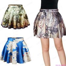 New Women Pleated Short Skirts Hobbit Map Pettiskirt Tennis Miniskirt A-line Sport SkirtsHot Summer Egypt Map Skirts Printed