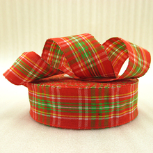 25Y42282 1″(25mm) red plaid scotish ribbon printed polyester ribbon 25 yards, DIY handmade materials, wedding gift wrap