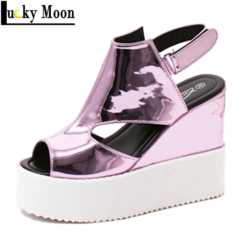 Women Shoes 2016 Summer New Open Toe Fish Head Fashion High Heels Wedge Sandals For Woman<br><br>Aliexpress