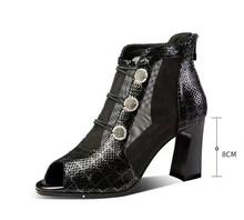 Seksi Nefes Örgü balık ağız sandalet kadın kristal çizmeler yaz geri zip sandalia mujer yüksek topuklu ayakkabı kadın Yılan cilt 8 cm(China)