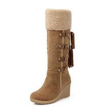 Wanita Musim Dingin Sepatu Bot Tinggi Ukuran 43 Wanita Pertengahan Betis Boots Hangat Salju Boots Suede Sepatu Sekolah Fashion Cross -Tied Sepatu Wanita(China)