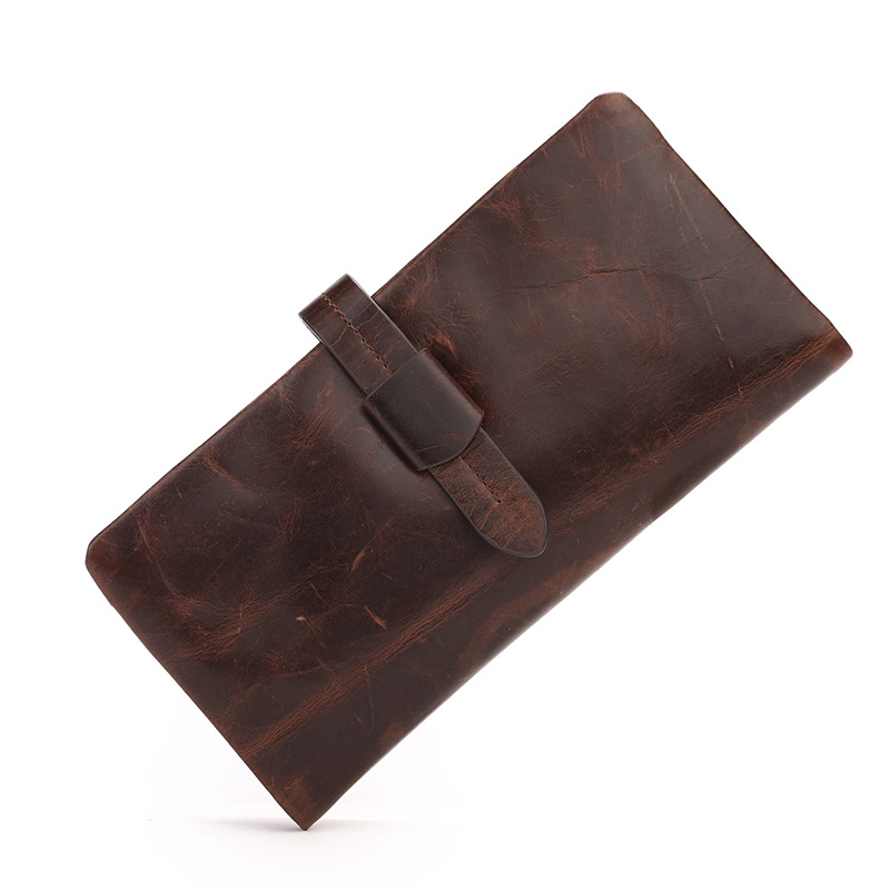 2017 new men's Leather Wallet long oil wax head layer cowhide handbag bag large leather hand bag business tide(China (Mainland))