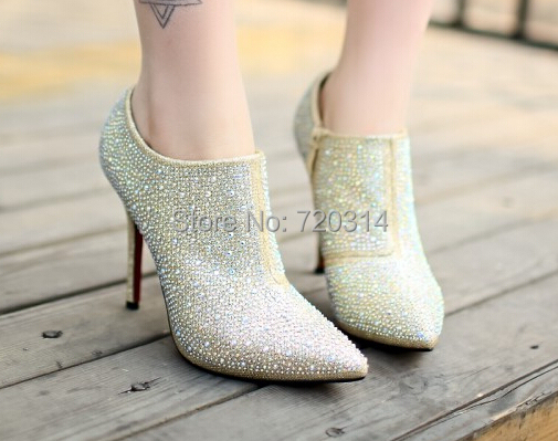 Sparkling Thin High Heels Shoes Women 2015 Sexy Pointed Toe Women Pumps Zip Ankle High Heels Elegant Wedding Dress Shoes(China (Mainland))