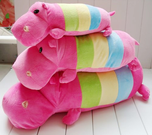 Cute Lovely Colorful Rainbow Hippo Pillow Soft Stuffed Plush Animal Toys doll 35cm piece(China (Mainland))