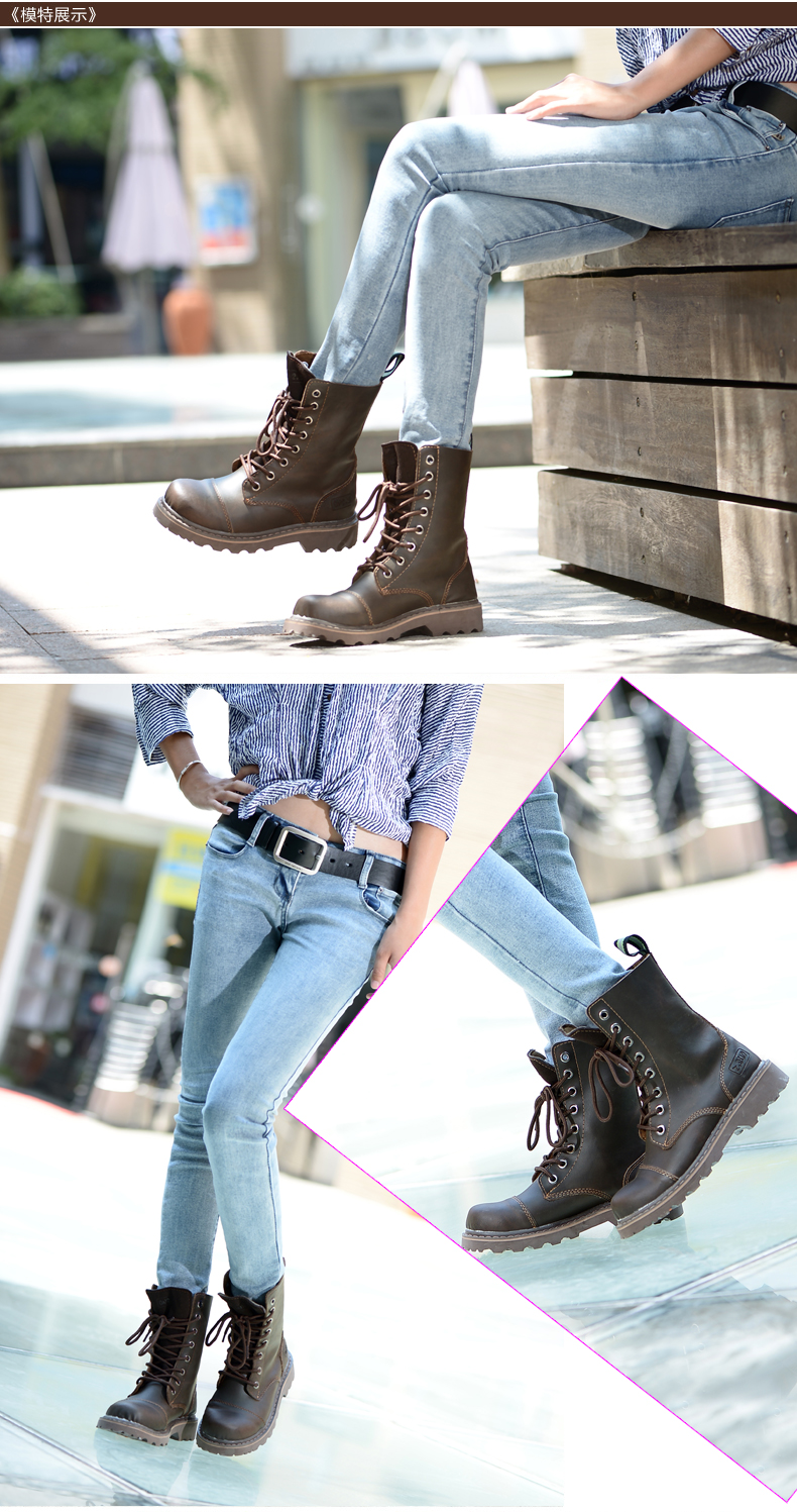 Vintage boots women british retro, 2015 autumn & winter female western martin boot leather shoes - Redleaf hair products Co., Ltd store