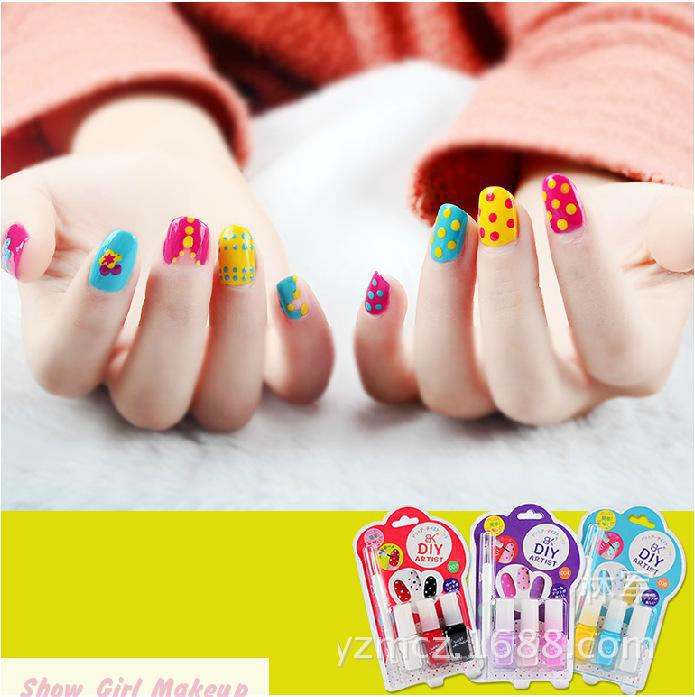 New Styles 3pcs/set Cute Wave Nail Polish Set Lovely Green Gel Nail Polish Bk girls colorful <font><b>Nailpolish</b></font>