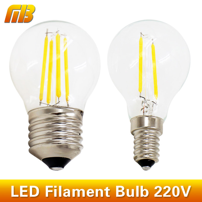 G45 LED Filament Ball Bulb E27 E14 220V 2W 4W Retro Loft Style Fit For Chandelier Rope Lights Table Light(China (Mainland))
