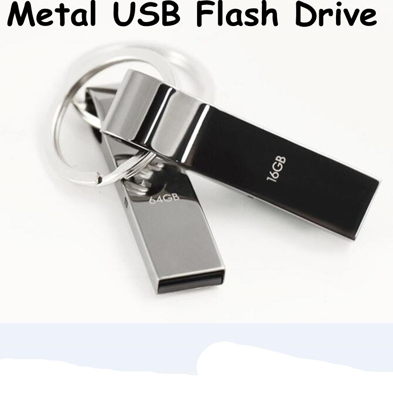 Free Shipping Metal USB Flash Drives Pen Drive USB 2.0 64GB 32GB 16GB 8GB 4GB pendrives U disk USB Stick(China (Mainland))