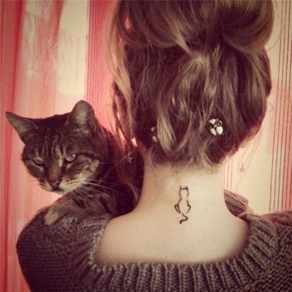 HC1133 Waterproof Temporary Tattoo Stickers Cartoon Cat Design Tattoo Sticker Women Sexy Body Art Arm Neck Fake Tattoo Stickers(China (Mainland))