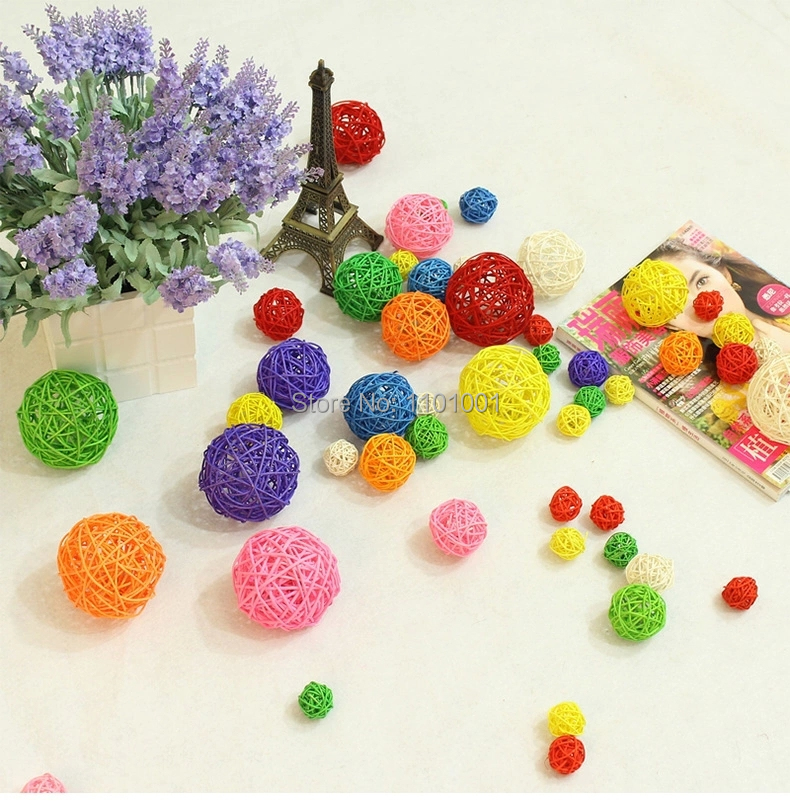 2015 NEWLY Room decoration rattan balls for wedding room decorations with high quality for party 4CM mixed colors for you choose(China (Mainland))